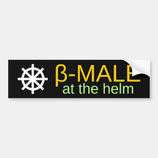 β-MALE at the helm (Orange, Green) Bumper Sticker