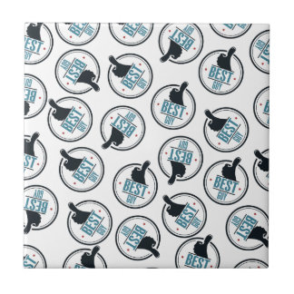 Бest guy thumb up label pattern small square tile