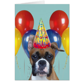 С днём рождения Happy Birthday Boxer Greeting Card