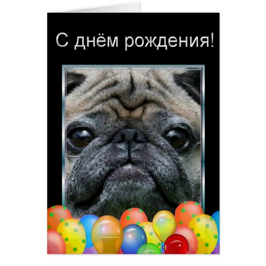 С днём рождени Happy Birthday Pug Dog card