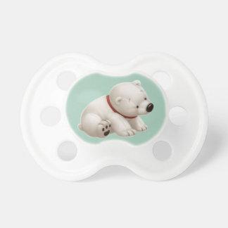 Сharming baby polar bear  (green pacifier) dummy