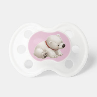 Сharming baby polar bear  (pink pacifier) dummy