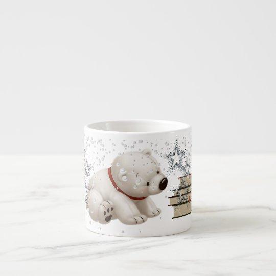 Сharming baby polars bear with books and snow