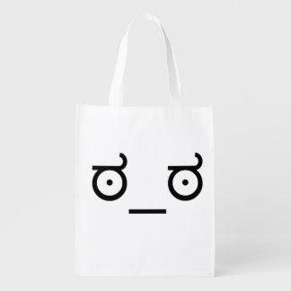 ಠ_ಠ Look of Disapproval ASCCI Emoticon Text Art Reusable Grocery Bags