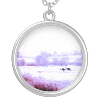 ♠»¦๑A Lovely Pair of Cranes Sterling Silver N๑¦«♠ Necklaces