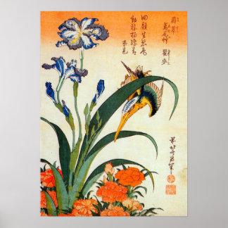 アヤメにカワセミ, 北斎 Iris and Kingfisher, Hokusai, Ukiyo-e Poster