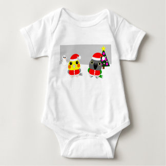 オウム Cockatiel & Senegal parrot as Santa for Christ Baby Bodysuit
