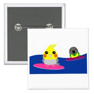 オカメインコ オウム パロットCockatiel & Senegal parrot Surfing 15 Cm Square Badge