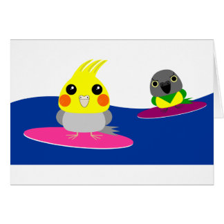 オカメインコ オウム パロットCockatiel & Senegal parrot Surfing Card