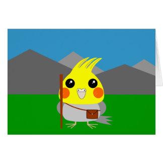 オカメインコ オウムCockatiel parrot ready to hike Card