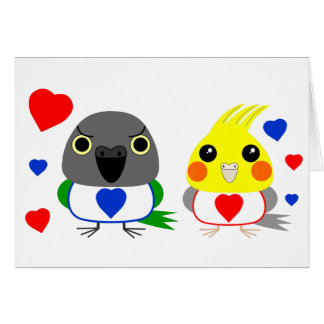 オカメインコ  オウムCockatiel & Senegal Parrot with hearts Card