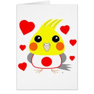 オカメインコ オウムCockatiel with love for Japan Card