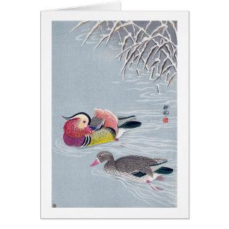 オシドリ, 小原古邨 Mandarin duck, Ohara Koson, Ukiyo-e Card
