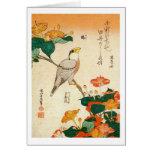 オシロイバナに小鳥, 北斎 Bird and Mirabilis Jalapa, Hokusai Greeting Card
