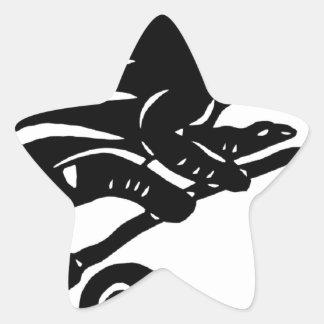 カメレオン 切り絵 chameleon アニマル ANIMAL 星形シールステッカー
