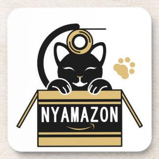 ガムテープで遊ぶ猫とNYAMAZON ダンボール(茶色) ドリンクコースター