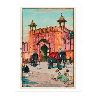 ジャイプールのアジュメール門, Ajmer Gate, Jaipur, Yoshida Postcard