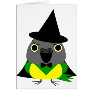 ネズミガシラハネナガインコ オウム Senegal parrot for Halloween Card