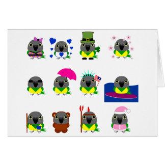 ネズミガシラハネナガインコ オウム Senegal Parrot holiday designs Card