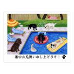 プールを囲んでのパーティLabradors Postcard