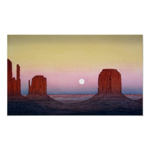 モニュメント・バレー, Monument Valley, Yoshida, Woodcut Poster