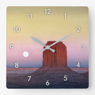 モニュメント・バレー, Monument Valley, Yoshida, Woodcut Square Wall Clock