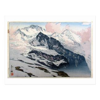 ユングフラウ, Jungfrau, Hiroshi Yoshida, Woodcut Postcard