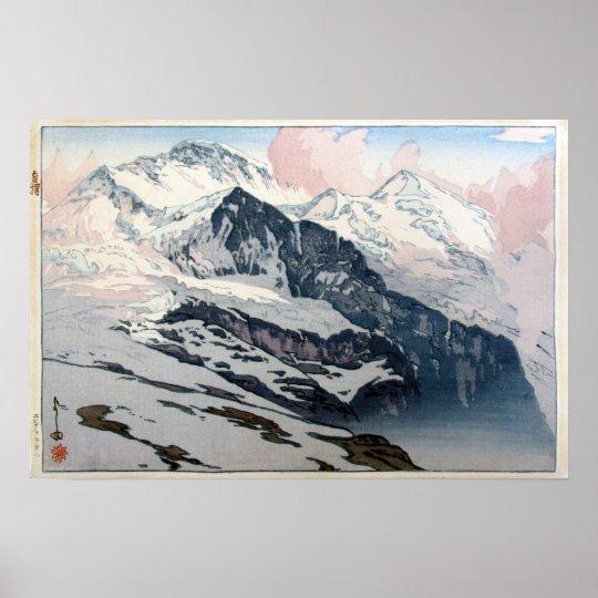 ユングフラウ, Jungfrau, Hiroshi Yoshida, Woodcut Poster