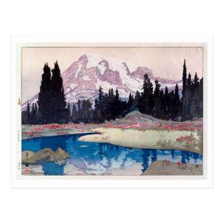 レーニア山, Mount Rainier, Hiroshi Yoshida, Woodcut Postcard