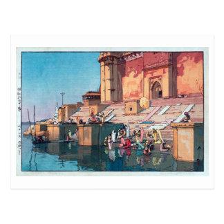 ヴァーラーナシー, Varanasi, Hiroshi Yoshida, Woodcut Postcard