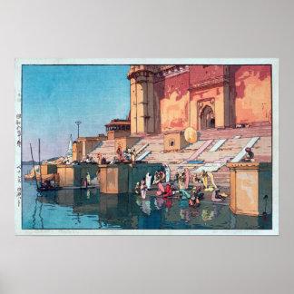 ヴァーラーナシー, Varanasi, Hiroshi Yoshida, Woodcut Poster
