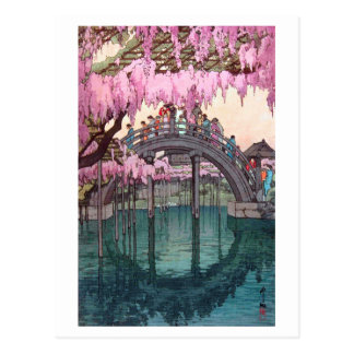 亀戸天神, Kameido Bridge, Hiroshi Yoshida, Woodcut Postcard