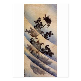 亀, 北斎 Turtles, Hokusai, Ukiyo-e Post Cards