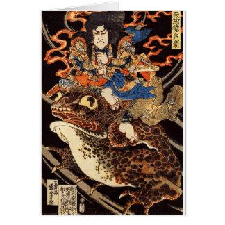 侍と化け蛙, 国芳 Samurai and Giant Frog, Kuniyoshi, Ukiyo Card