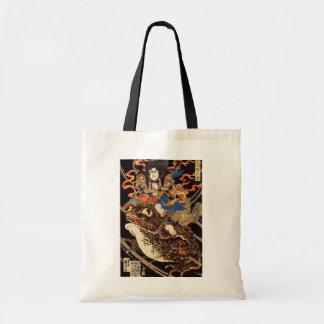 侍と化け蛙, 国芳 Samurai and Giant Frog, Kuniyoshi, Ukiyo Budget Tote Bag