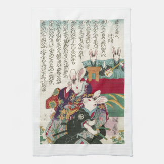 兎の歌舞伎役者, 芳藤 Actors of Rabbit, Yoshifuji, Ukiyo-e Tea Towel