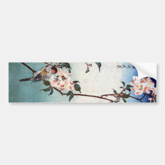 八重桜に鳥, 広重 Cherry Blossom & Bird, Hiroshige, Ukiyoe Bumper Stickers