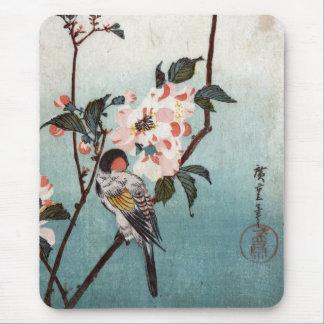 八重桜に鳥, 広重 Cherry Blossom & Bird, Hiroshige, Ukiyoe Mouse Mat