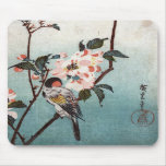 八重桜に鳥, 広重 Cherry Blossom & Bird, Hiroshige, Ukiyoe Mousepad
