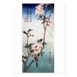 八重桜に鳥, 広重 Cherry Blossom & Bird, Hiroshige, Ukiyoe Postcards