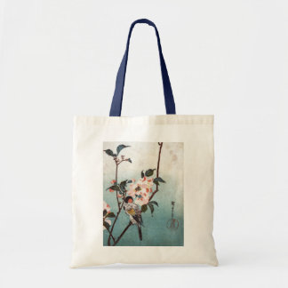 八重桜に鳥, 広重 Cherry Blossom & Bird, Hiroshige, Ukiyoe Tote Bag