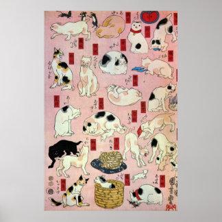 其のまま地口猫飼好五十三疋(中), 国芳 Cats(2), Kuniyoshi, Ukiyo-e Poster