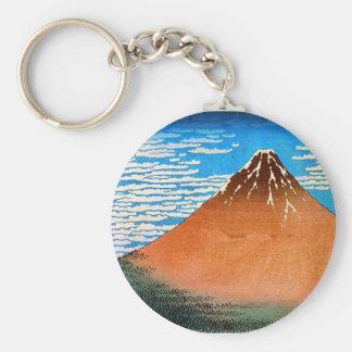 凱風快晴(赤富士), 北斎 Red Mount Fuji, Hokusai, Ukiyo-e Basic Round Button Key Ring