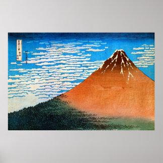 凱風快晴(赤富士), 北斎 Red Mount Fuji, Hokusai, Ukiyo-e Poster