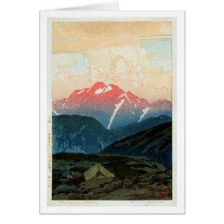 剣山の旭, Mount Tsurugi, Hiroshi Yoshida, Woodcut Card