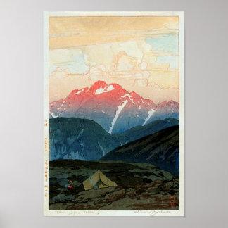 剣山の旭, Mount Tsurugi, Hiroshi Yoshida, Woodcut Poster