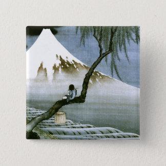 北斎 Boy & Mt Fuji Fine Art 15 Cm Square Badge