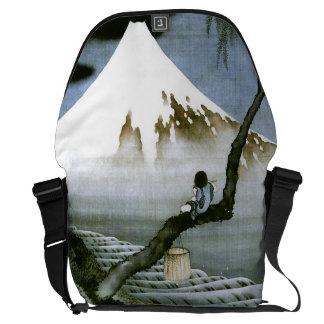 北斎 Boy & Mt Fuji Fine Art Messenger Bag