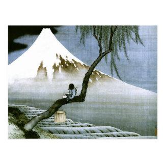 北斎 Boy & Mt Fuji Fine Art Postcard