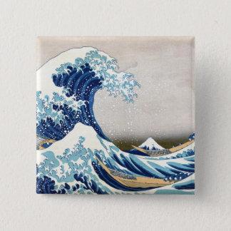 北斎 Great Wave Off Kanagawa Hokusai Fine Art 15 Cm Square Badge